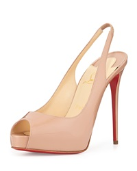 Christian Louboutin Private Number Patent Peep Toe Red Sole Slingback Neutral