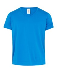 S0rensen Dancer Scoop Neck Cotton Jersey T Shirt Blue