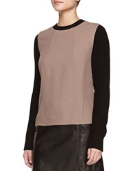 Jason Wu Long Sleeve Knit Leather Combo Tunic Dress Taupe Brown