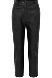 Stella Mccartney Cropped Faux Leather Straight Leg Pants Black