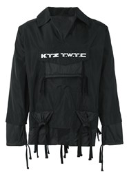 Ktz Embroidered Gathered Pocket Jacket Black