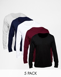 Asos Long Sleeve T Shirt With Scoop Neck 5 Pack Save 25 Multi