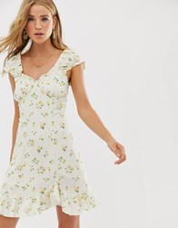 Free People Like A Lady Printed Mini Dress White