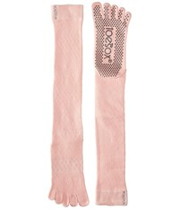 Toesox Grip Full Toe Scrunch Fishnet Kiss Women's Low Cut Socks Shoes Pink