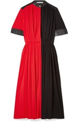 Givenchy Leather Paneled Pleated Stretch Jersey Midi Dress Red