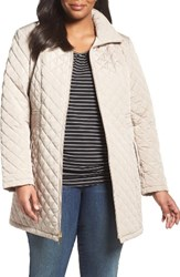 Gallery Plus Size Women's Side Tab Quilted Jacket Sesame