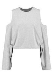 Native Youth Cold Shoulder Long Sleeved Top Grey