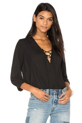 Krisa Lace Up Surplice Blouse Black