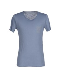 Alpha Studio Topwear T Shirts Men Pastel Blue