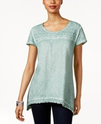 Style And Co Fringe Hem Lace Yoke Top Only At Macy's Dusty Jade