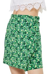 Topshop Green Meadow Ruffle Miniskirt Green Multi