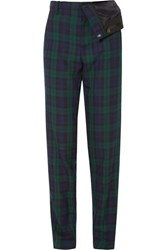 Y Project Asymmetric Plaid Twill Straight Leg Pants Emerald