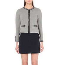 Claudie Pierlot Maxipunk Knitted Cotton Blend Cardigan Gris