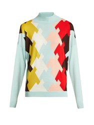 Delpozo High Neck Wool Sweater Blue Multi