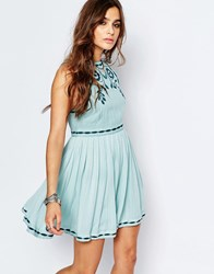 Free People Delightful Dobby Birds Of A Feather Mini Dress Blue