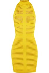 Balmain Cutout Ribbed Stretch Knit Mini Dress Chartreuse