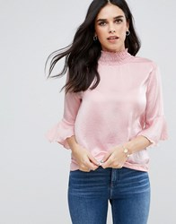 Ax Paris High Neck Long Sleeve Crinkle Effect Top Peach Pink
