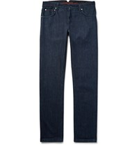 Isaia Slim Fit Washed Selvedge Stretch Denim Jeans Dark Denim