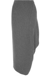J.W.Anderson Asymmetric Ribbed Merino Wool Skirt Gray