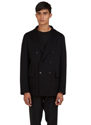 Valentino Short Double Breasted Felt Jacket Black