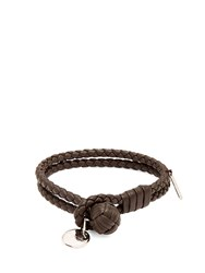 Bottega Veneta Intrecciato Woven Knot Leather Bracelet Brown