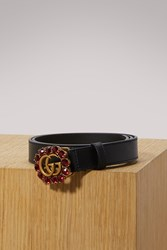 Gucci Leather Belt With Double G And Crystals Black Rubi