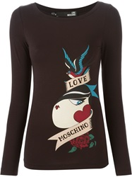 Love Moschino Tattoo Print Long Sleeve T Shirt Black