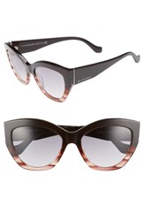 Balenciaga Women's 56Mm Cat Eye Sunglasses Striped Brown Opal Palladium Striped Brown Opal Palladium