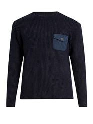 Mt. Rainier Design Mr61336 Crew Neck Ribbed Knit Sweater Navy