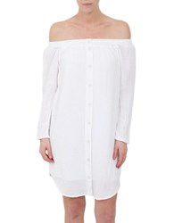 Three Dots Off The Shoulder Tunic Top White