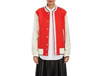 Rag And Bone Women's Edith Wool Blend Leather Varsity Jacket Red