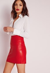 Missguided Faux Leather Mini Skirt Red