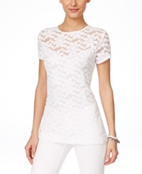 Inc International Concepts Lace Cap Sleeve Blouse Only At Macy's Bright White