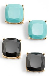 Women's Bp. Square Stud Earrings Set Of 2 Black Turquoise