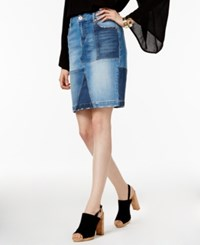 Inc International Concepts Denim Patchwork Pencil Skirt Only At Macy's Light Wash