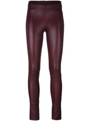 Theory Leather Leggings Red