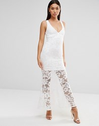 Wyldr Cassil Floral Lace Maxi Dress With Plunge Neck Ivory Cream