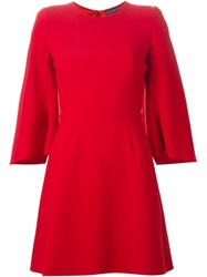 Alexander Mcqueen Three Quarter Sleeve Dress Red