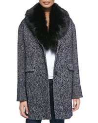Dawn Levy Kaba Tweed Coat W Removable Faux Fur Trim Small 6