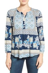 Lucky Brand Mixed Print Blouse Blue