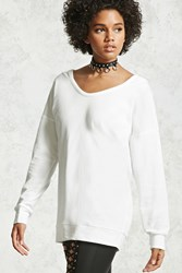 Forever 21 French Terry Hooded Pullover Ivory