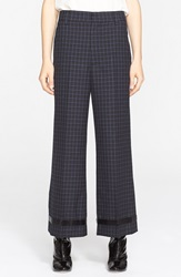 Marc Jacobs Wide Leg Worsted Wool Check Crop Pants Navy
