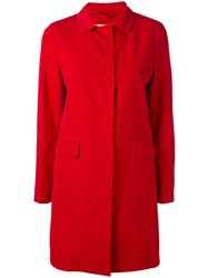 Herno Single Breasted Coat Women Cotton Polyester Polyethylene Acetate 48 Red
