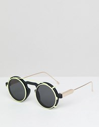 Spitfire Round Clip On Sunglasses In Black And Yellow