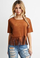 Forever 21 Faux Suede Fringe Top Brown
