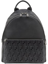 Fendi Embossed Ff Backpack Calf Leather Polyester Black