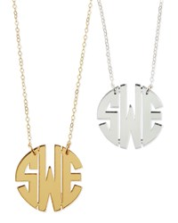 Mirrored Acrylic Monogram Pendant Necklace Moon And Lola Gold