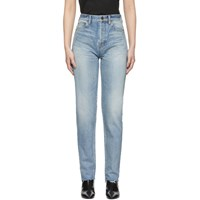 Saint Laurent Blue Bandana Raw Edge Slim Jeans