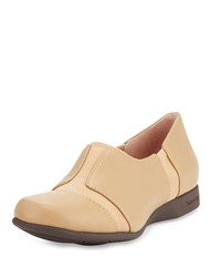 Taryn Rose Tarsha Stretch Inset Leather Flat Carmel