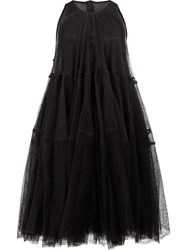 Rick Owens Tulle Layered Tiered Dress Black